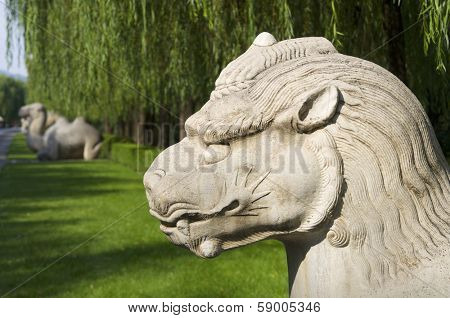 Statue of a Standing Xiezhi in The General Sacred Way of the Ming Tombs. It was built between 1435 and 1540. Shisanling, Beijing, China
