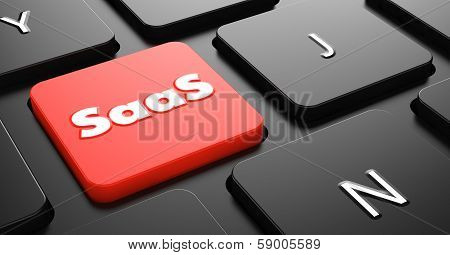 SAAS Concept on Red Keyboard Button.