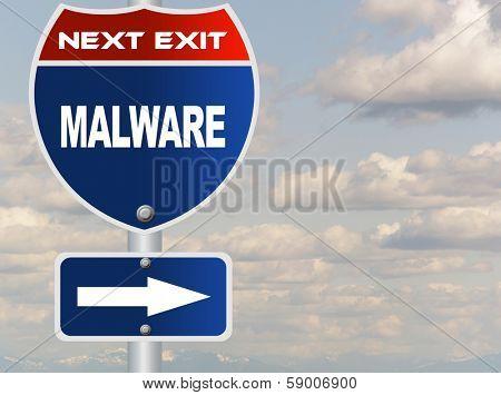 Mal ware road sign