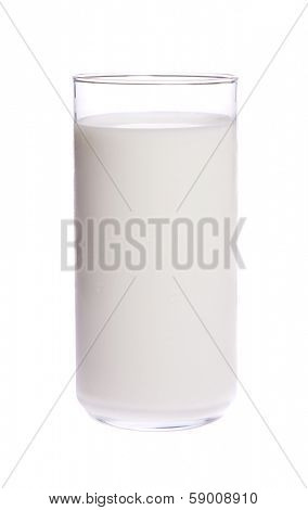 Glass of cold fresh milk on white isolated