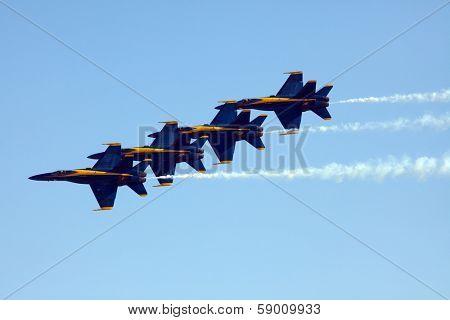 MCAS MIRAMAR, CA - OCTOBER 3: Blue Angels squadron Air Show on October 3, 2009 in MCAS Miramar, CA.