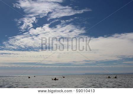 Kayaks on Salton Sea California
