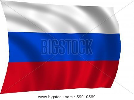 Flag of Russian Federation waiving in the wind