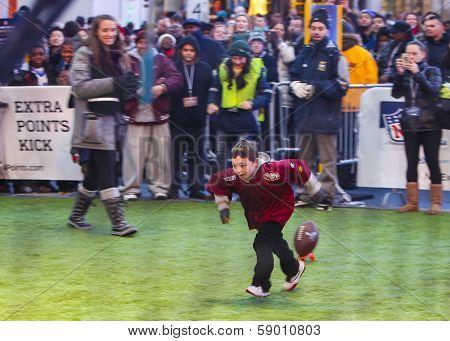 Little kicker prepares to try field goal