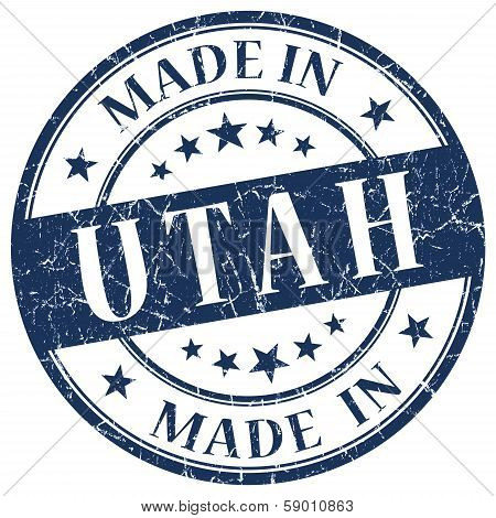 Made In Utah Blue Round Grunge Isolated Stamp