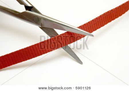steel scissors cut ribbon