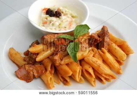 penne spicy red curry sauce Thai fusion sauce