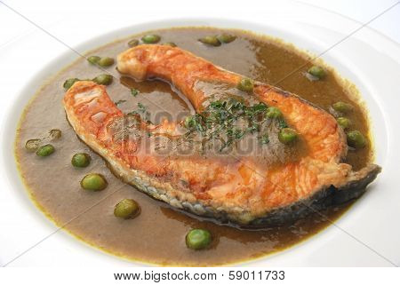 salmon fried with green chili sauce, Thai fusion food