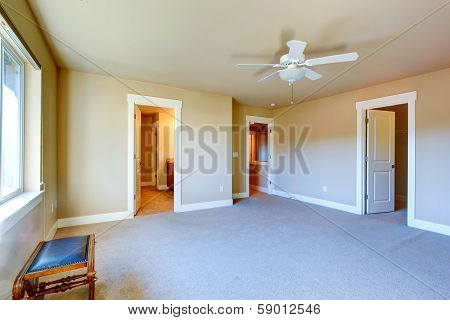 Empty Master Bedroom With Walk-in Closet And Bathroom