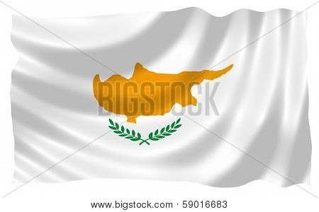 Illustration of Cyprus flag waving in the wind