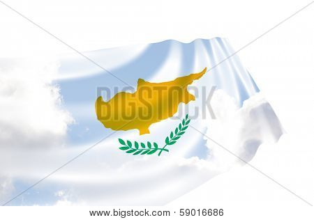 Illustration of Cyprus flag with sky, waving in the wind