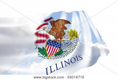Illustration of Illinois state flag with sky , waving in the wind