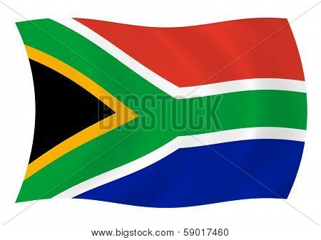 Flag of South Africa waving in the wind