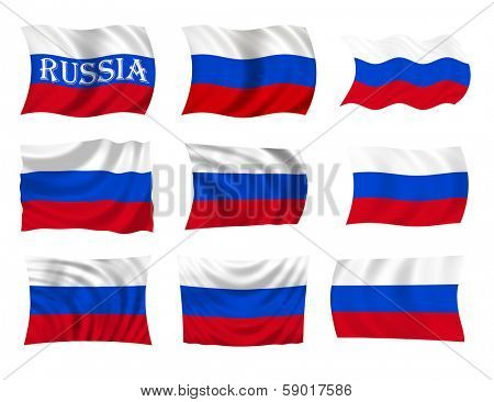 Collection of Russian flags, waving in the wind, illustration