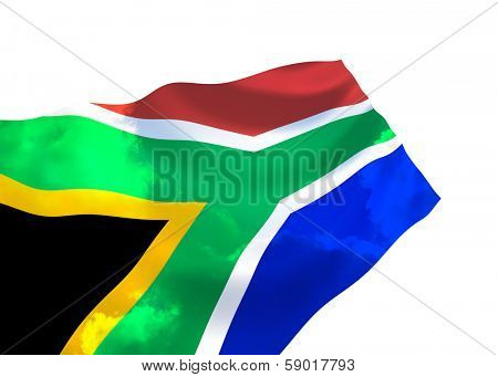 Flag of South Africa over the sky,waving in the wind
