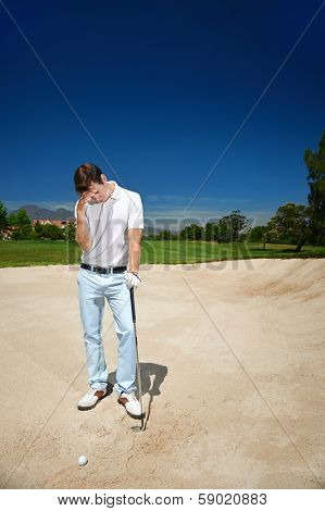 Golfer golf man having meltdown in bunker frustration