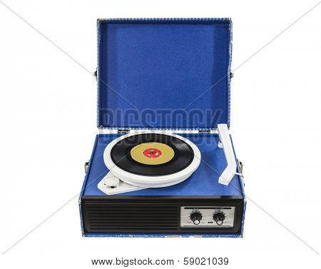 Funky old record player box isolated with clipping path.