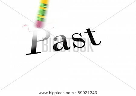 Person using a pencil eraser to erase the past from their life so they can start new