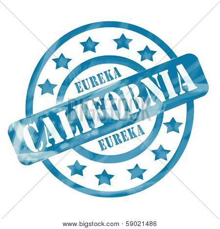 Blue Weathered California Stamp Circles And Stars
