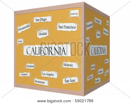 California State 3D Cube Corkboard Word Concept