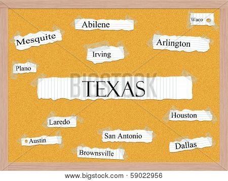 Texas State Corkboard Word Concept