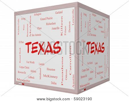 Texas State Word Cloud Concept On A  3D Cube Whiteboard