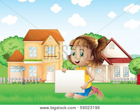 Illustration of a happy girl holding an empty signage