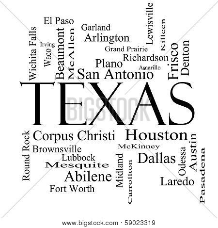 Texas State Word Cloud Concept In Black And White