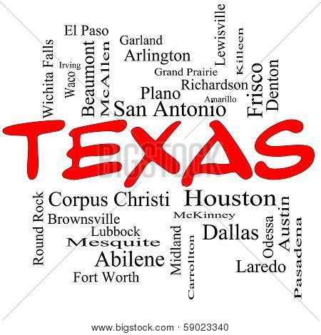 Texas State Word Cloud Concept In Red Caps