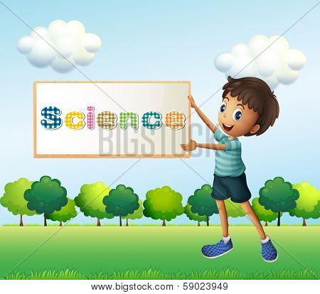 Illustration of a boy holding a science signage