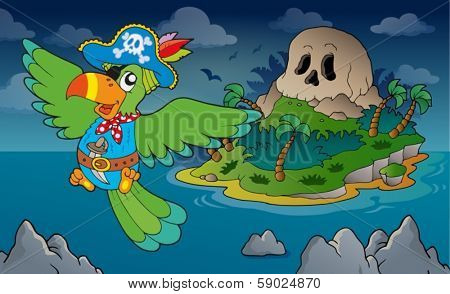 Theme with pirate skull island 4 - eps10 vector illustration.