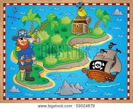 Treasure map topic image 8 - eps10 vector illustration.