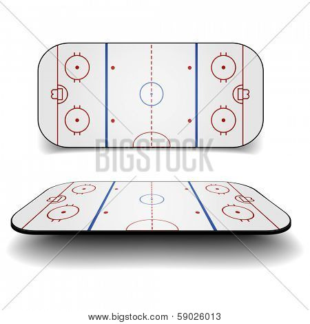 detailed illustration of a icehockey court with different perspectives, eps10 vector