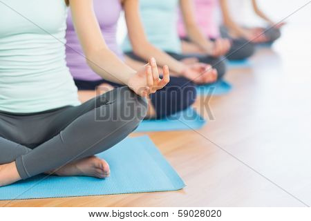 Close-up of cropped sporty women in lotus pose at a bright fitness studio