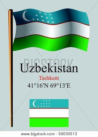 Uzbekistan Wavy Flag And Coordinates