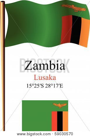 Zambia Wavy Flag And Coordinates