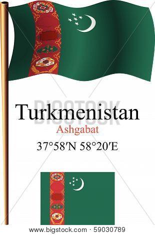 Turkmenistan Wavy Flag And Coordinates