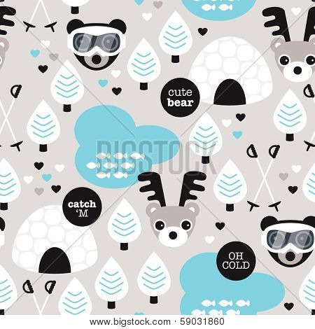 Seamless winter wonderland moose and eskimo snow woodland illustration background pattern in vector