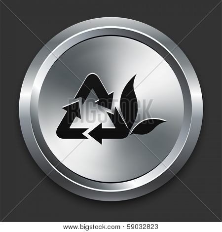 Recycle Icon on Metallic Button Collection