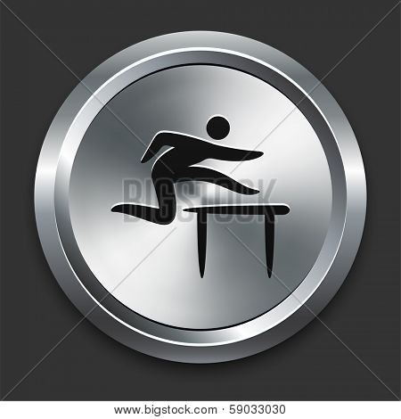 Hurdle Icon on Metallic Button Collection