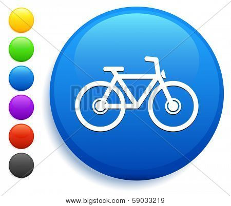 Bicycle Icon on Round Button Collection