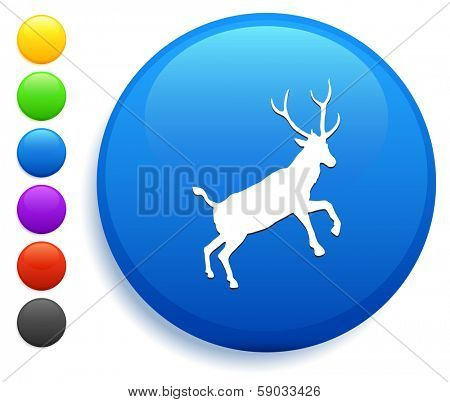 Deer Icon on Round Button Collection