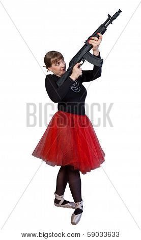 Ballerina With Assault Rifle Kalashnikov