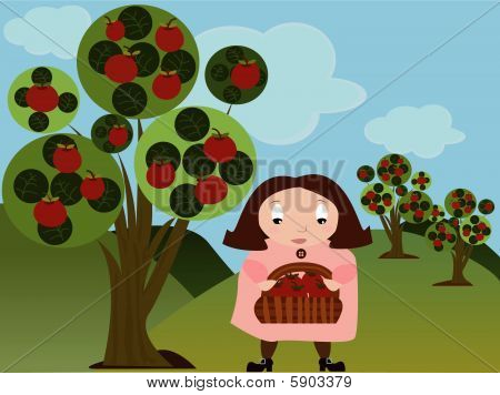 Girl in Apple Orchard