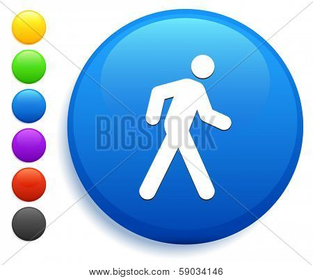 Walking Icon on Round Button Collection