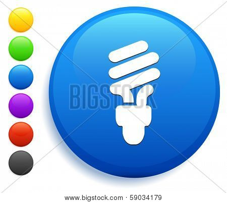 Fluorescent Light Bulb Icon on Round Button Collection
