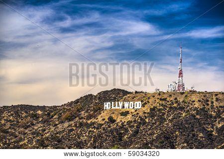 LOS ANGELES, CALIFORNIA - NOVEMBER 6, 2013: Hollywood sign in Los Angeles, California. The landmark sign dates from 1923.