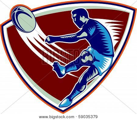 Rugby Player Kicking Ball Shield Woodcut