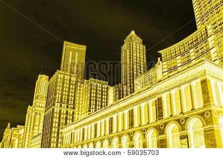 Conceptual view of Chicago (Illinois), Public Library and skyline