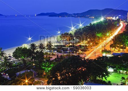 Beach Scene, Tropics, Pacific Ocean Night View, Natrang Vietnam